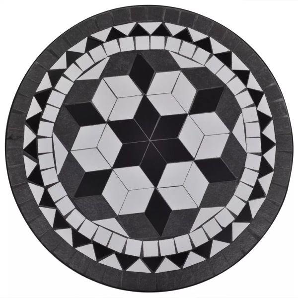 vidaXL Masă de bistro, alb și negru, 60 cm, mozaic