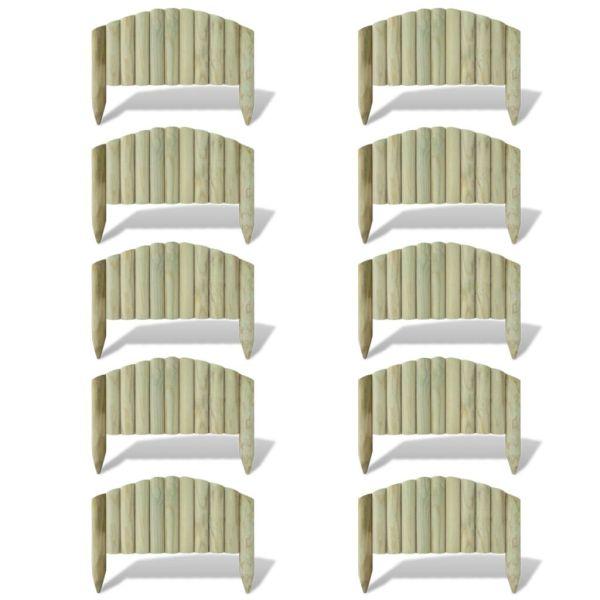 vidaXL Panouri din bușteni pentru gazon, 10 buc., 55 cm, lemn
