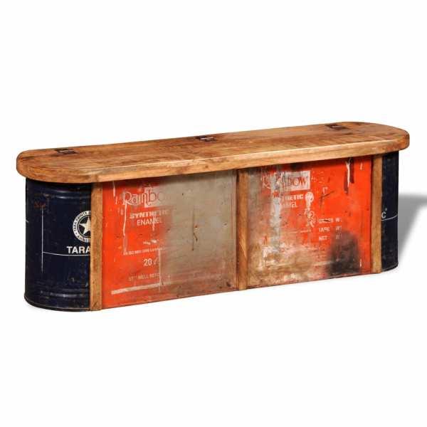 Bancă cu spațiu de depozitare din lemn masiv reciclat