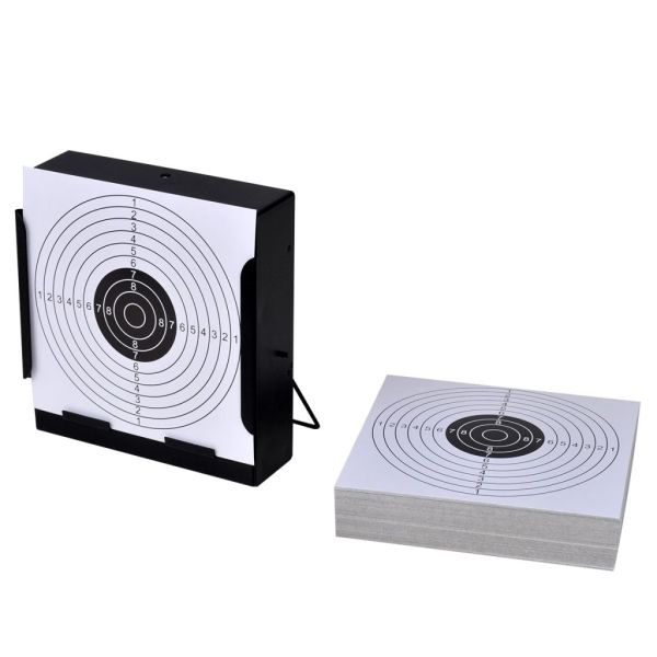 Suport pătrat pentru tir + 100 ținte de hârtie 14 cm