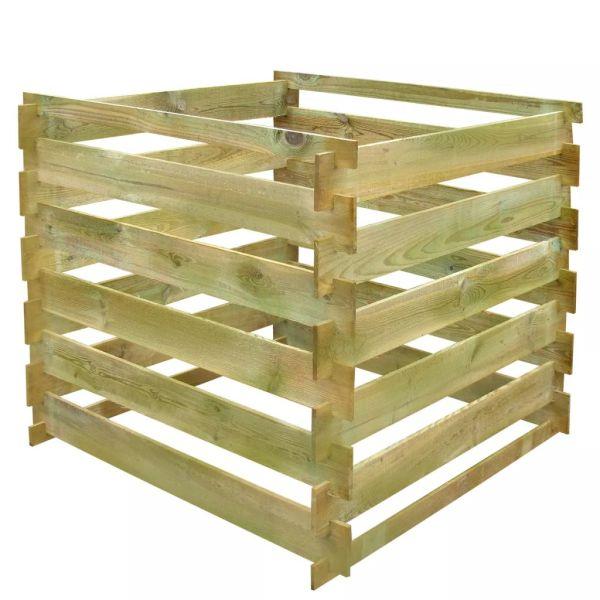 vidaXL Pubelă de compost din șipci 0,54 m3 lemn, pătrat