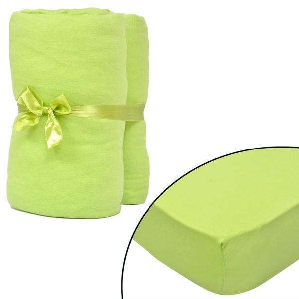 Husă saltea din bumbac jerseu 140×200-160x200cm, verde măr, 2 buc.