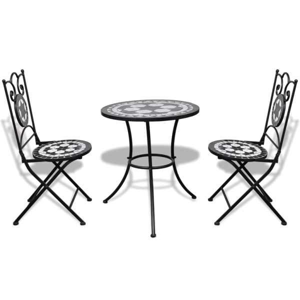 vidaXL Set mobilier bistro, 3 piese, negru/alb, plăci ceramice