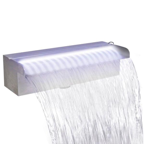 vidaXL Fântână piscină dreptunghiulară LED-uri 30 cm oțel inoxidabil
