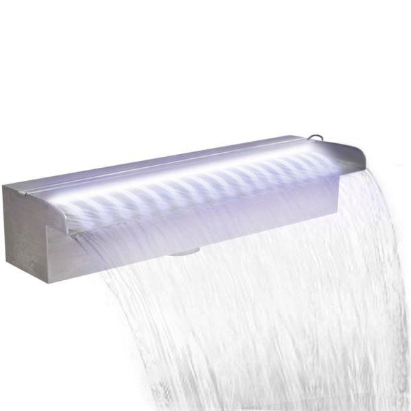 vidaXL Fântână piscină dreptunghiulară LED-uri 45 cm oțel inoxidabil