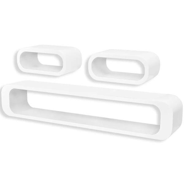 3 Rafturi cub suspendate bibliotecă depozitare DVD MDF, alb