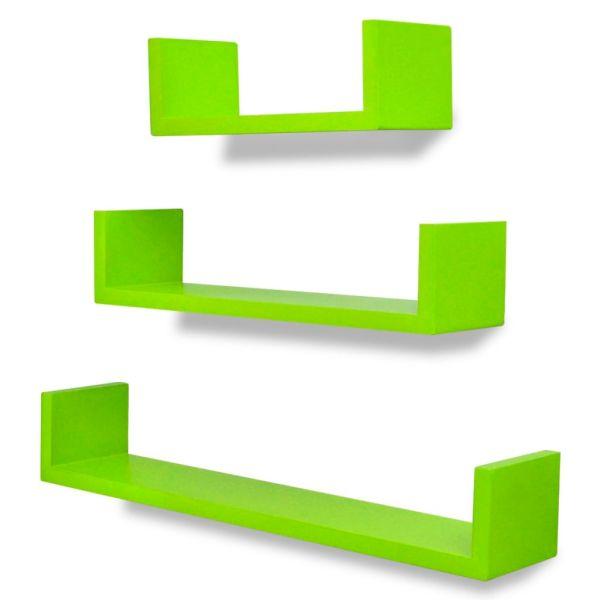 Rafturi suspendate din MDF pentru cărți/DVD-uri, Verzi, 3 buc.
