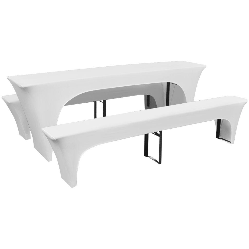 3 huse elastice pentru masă și bănci berărie 220 x 70 x 80 cm, alb