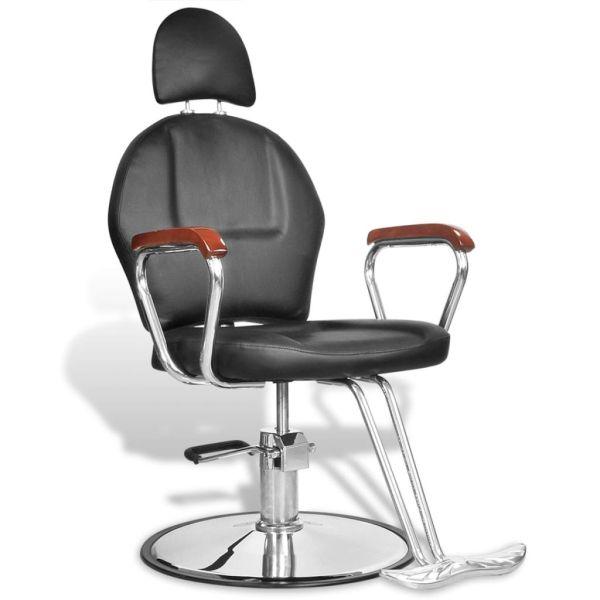 Scaun profesional de frizer, cu tetieră și piele artificială, negru