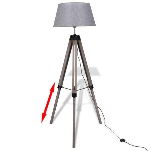 Lampă de podea ajustabilă cu tripod și abajur din material textil, gri