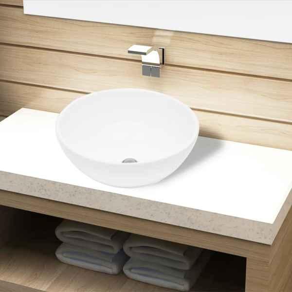 Bazin chiuvetă de baie din ceramică, rotund, alb