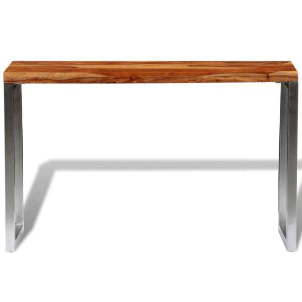 vidaXL Masă consolă din lemn masiv de sheesham cu picioare din oțel