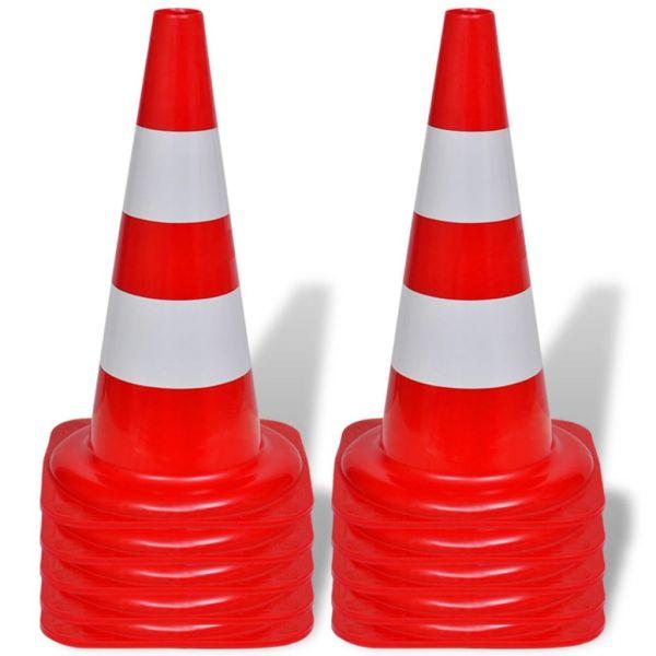 Set 10 conuri reflectorizante semnalizare rutieră, 50 cm, roșu și alb