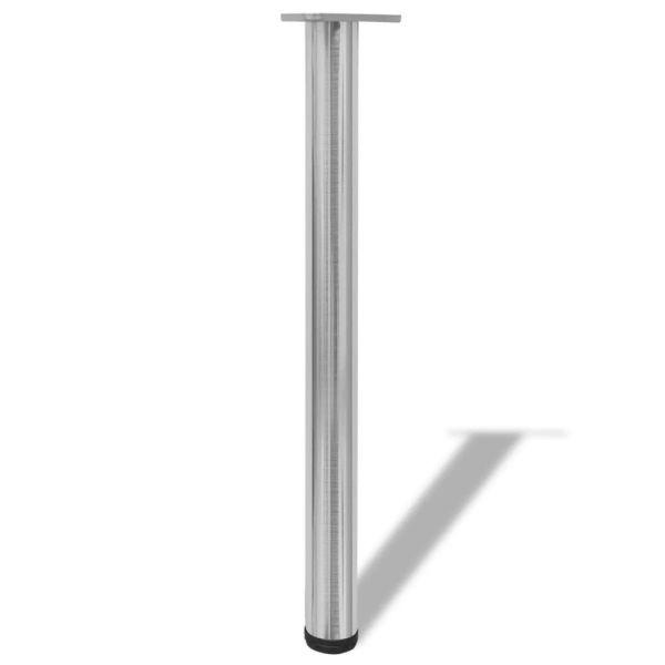 Picioare de masă înălțime reglabilă din nichel șlefuit, 4 buc, 710 mm