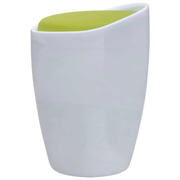 vidaXL Taburet, alb și verde, piele ecologică