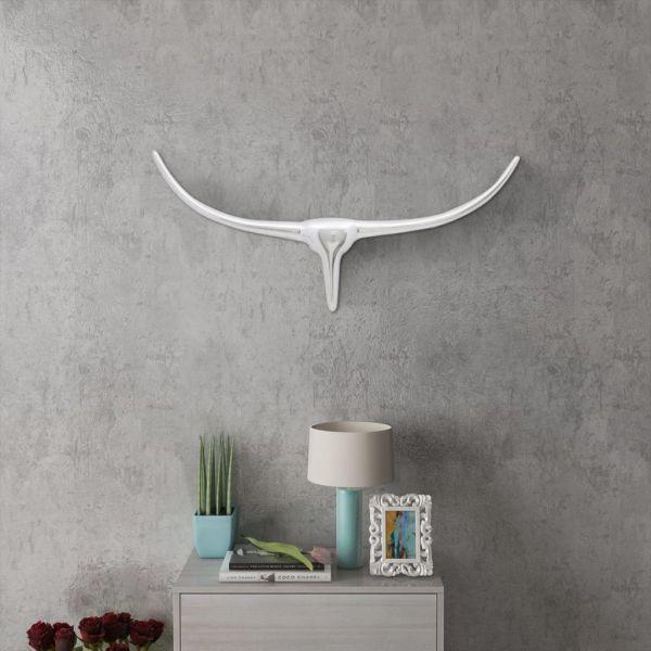 Decorațiune pentru perete tip cap de taur, aluminiu, 72 cm, argintiu