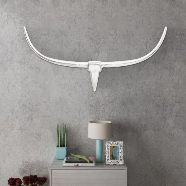 Decorațiune pentru perete tip cap de taur, aluminiu, 125 cm, argintiu
