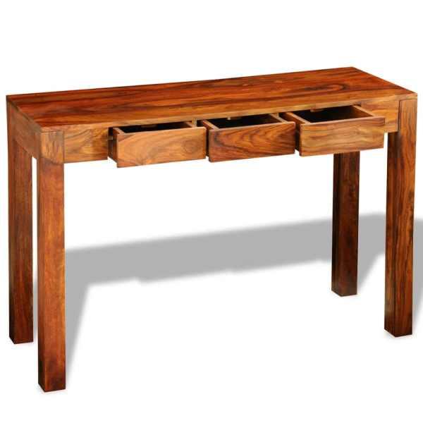 vidaXL Masă consolă cu 3 sertare, 80 cm, lemn masiv de sheesham