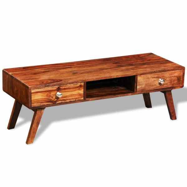Bufet comodă TV cu 2 sertare, lemn masiv de sheesham, vintage, 40 cm