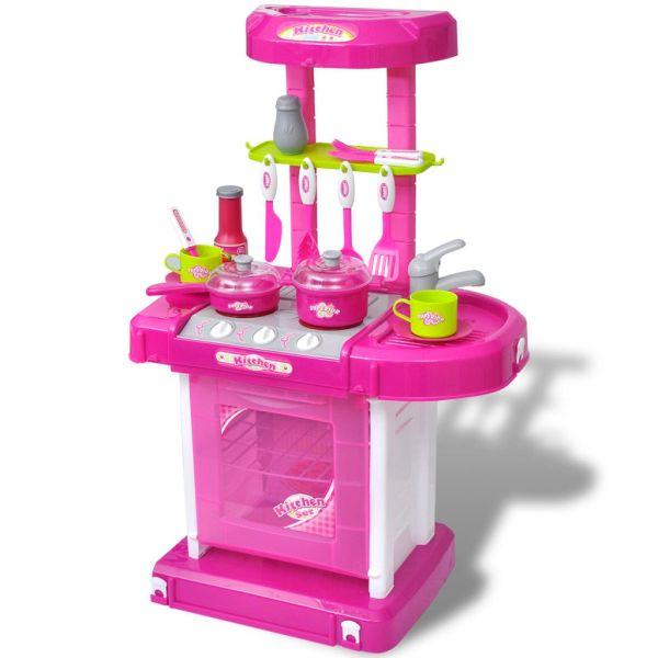 Bucătărie de jucărie pentru copii cu lumini și efecte sonore, Roz
