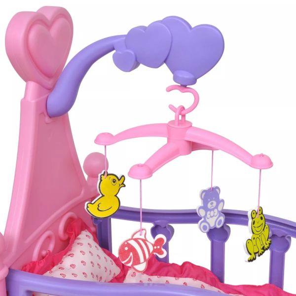 Pat de jucărie păpuși pentru camera de joacă a copiilor, roz + violet