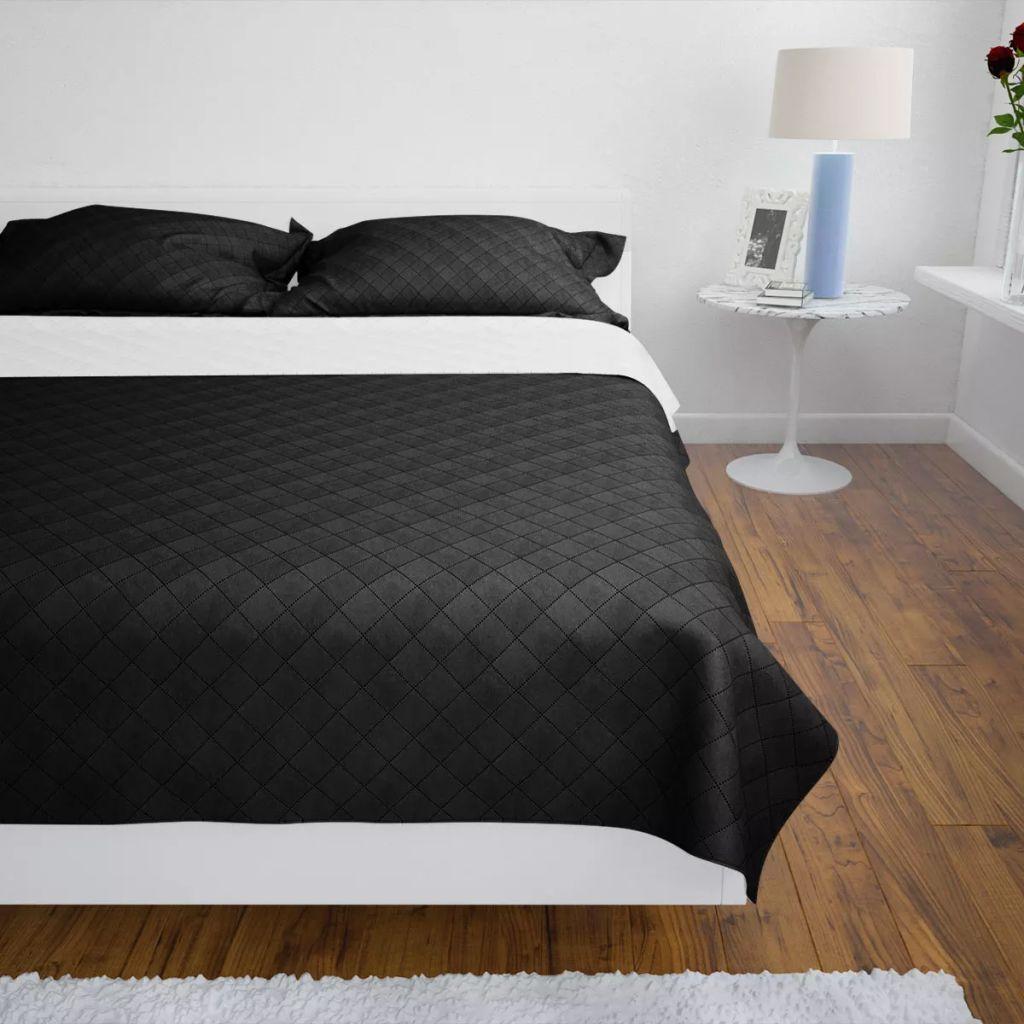 Cuvertură matlasată cu două fețe, 230 x 260 cm, negru/alb
