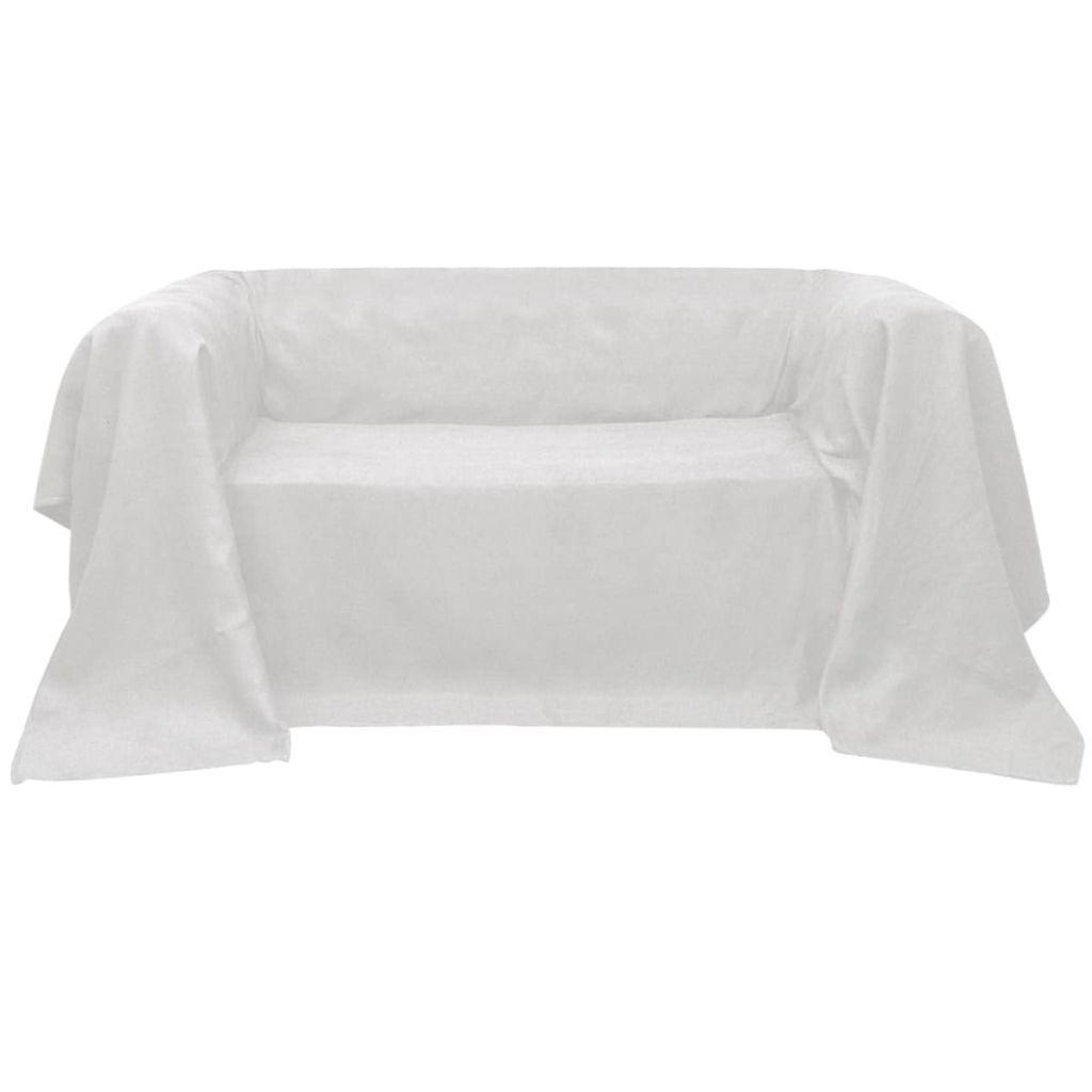 Husă din velur micro-fibră pentru canapea, 140 x 210 cm, crem