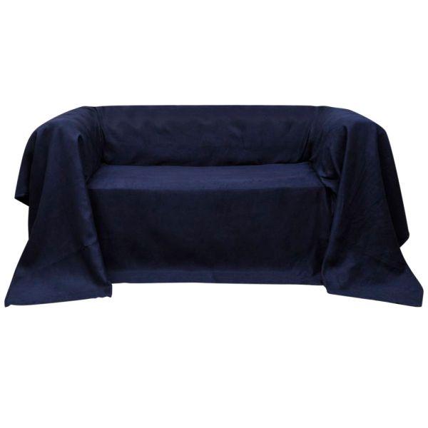 Husă din velur micro-fibră pentru canapea, 210 x 280 cm, bleumarin