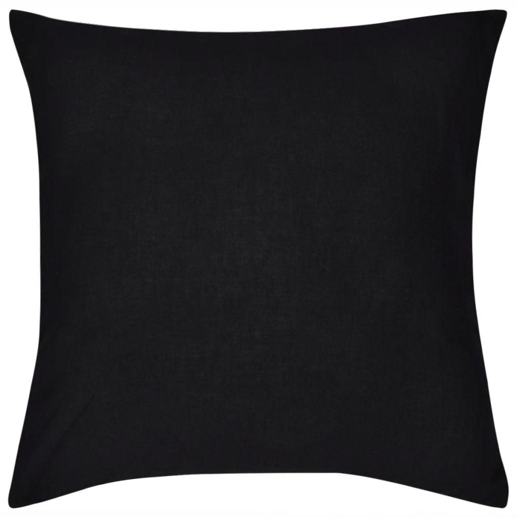 Huse de pernă din bumbac, 40 x 40 cm, negru, 4 buc.