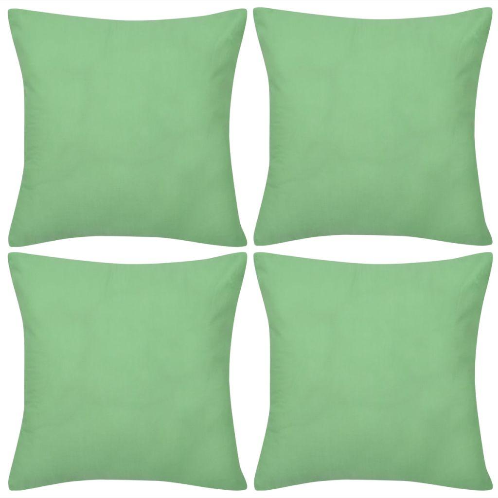 Huse de pernă din bumbac, 40 x 40 cm, măr verde, 4 buc.