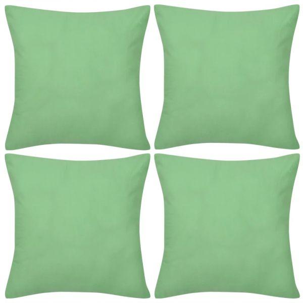 Huse de pernă din bumbac, 50 x 50 cm, verde măr, 4 buc.
