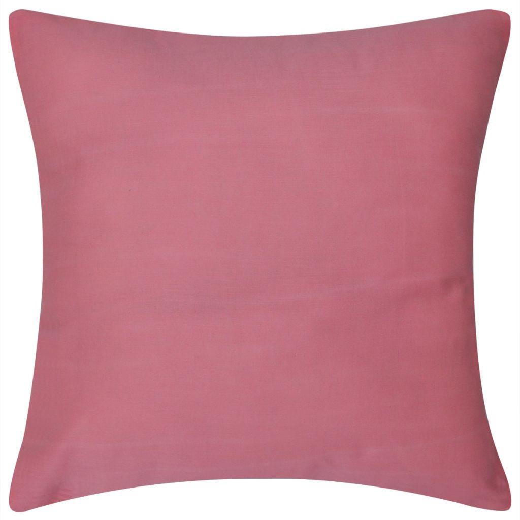 Huse de pernă din bumbac, 50 x 50 cm, roz, 4 buc.