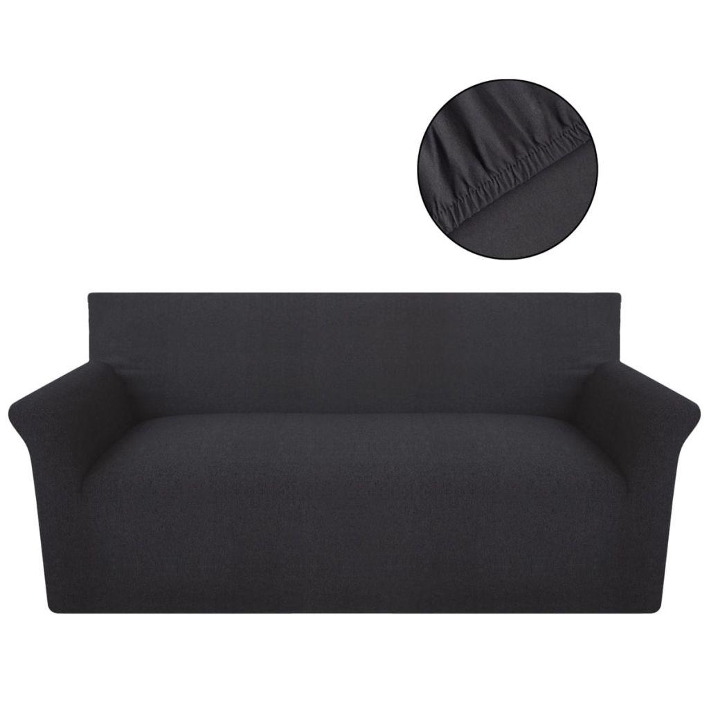 Husă elastică pentru canapea din bumbac antracit jersey