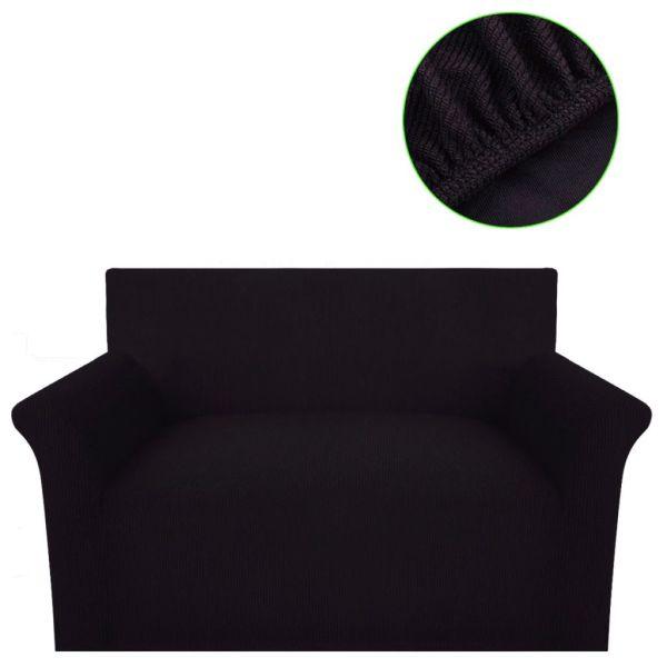 vidaXL Husă elastică pentru canapea, poliester textură striată, maro