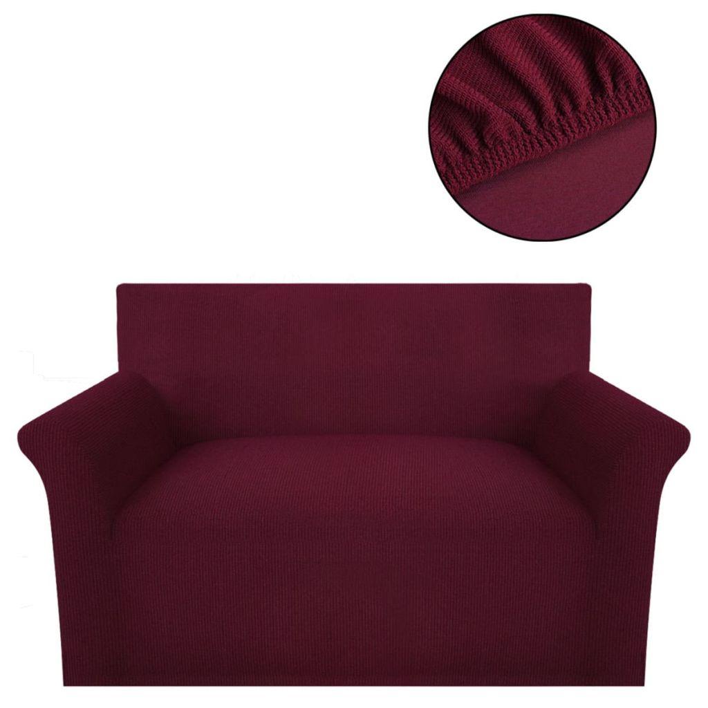 vidaXL Husă elastică pentru canapea, poliester striații, roșu burgund