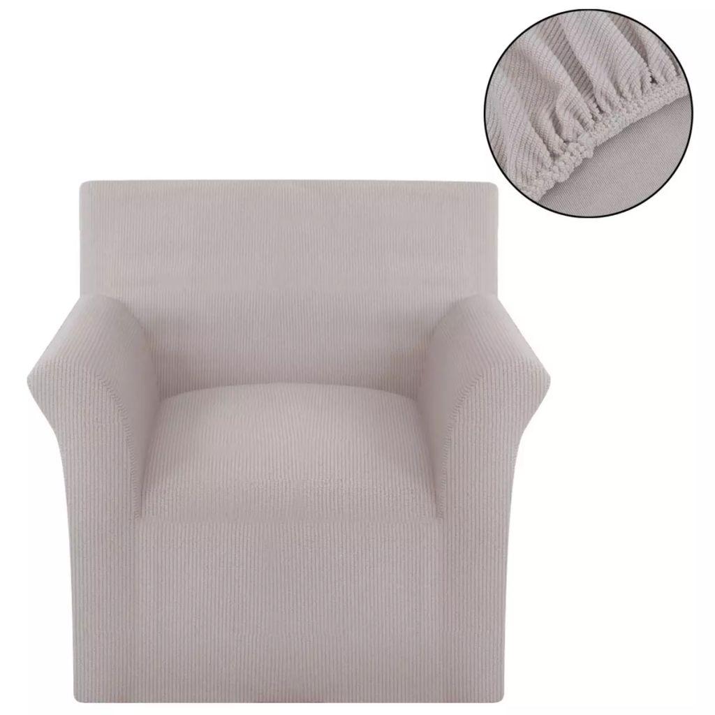 vidaXL Husă elastică pentru canapea din poliester cu striații, bej