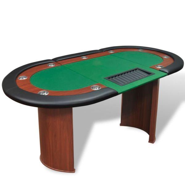 vidaXL Masă poker 10 persoane, zonă dealer și suport jetoane, verde