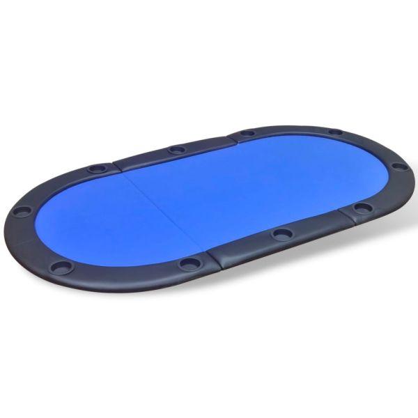 vidaXL Blat de masă de poker pentru 10 jucători, pliabil, albastru