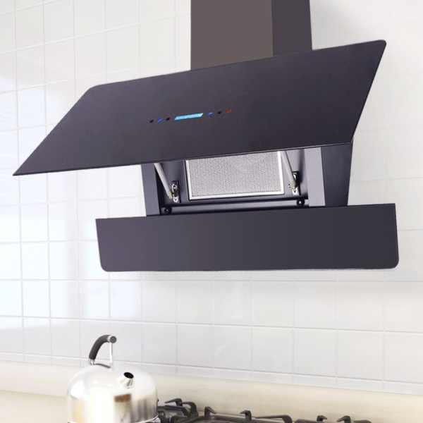vidaXL Hotă cu afișaj tactil 900 mm, Neagră
