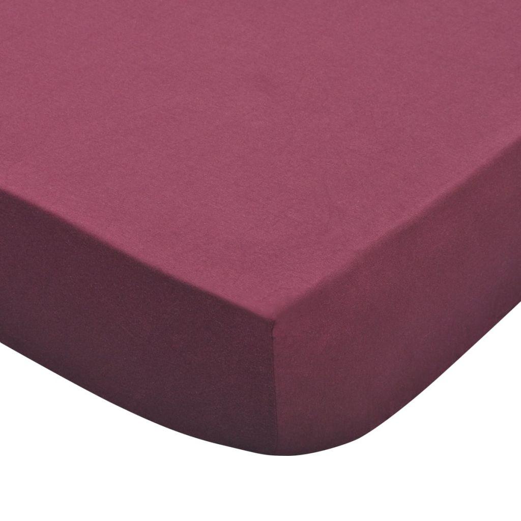 vidaXL Husă saltea jerseu, 140×200-160x200cm, 160 gsm, burgundy, 2 buc
