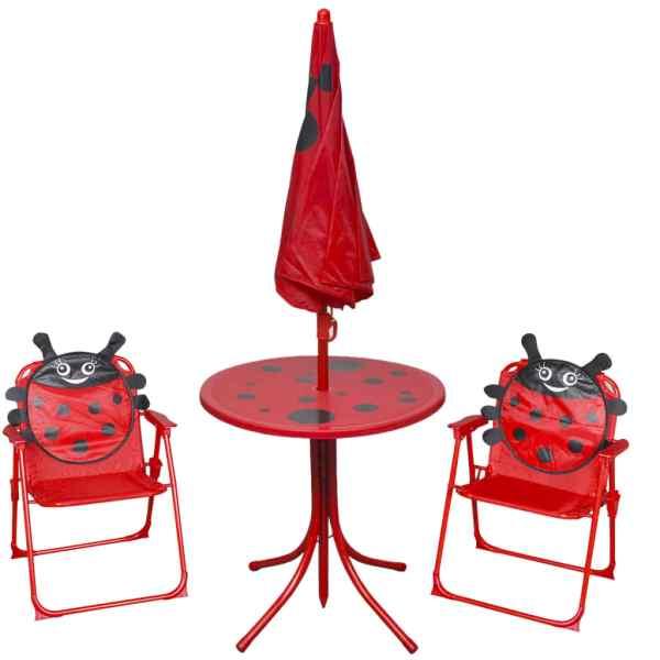vidaXL Set bistro pentru copii de grădină, cu umbrelă, 3 piese, roșu