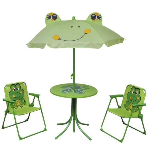 vidaXL Set bistro pentru copii de grădină, cu umbrelă, 3 piese, verde