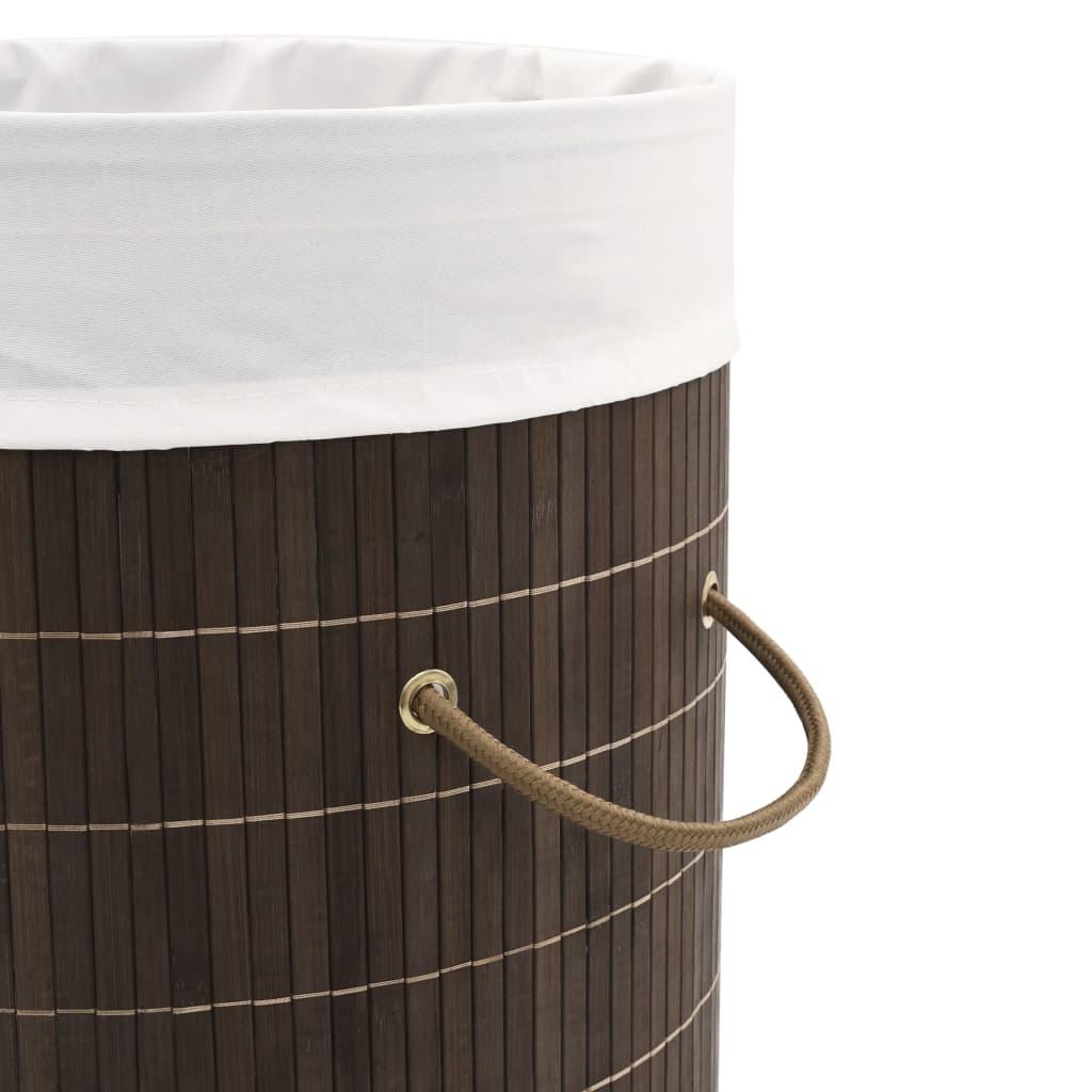 Coș de rufe din bambus, maro închis, rotund