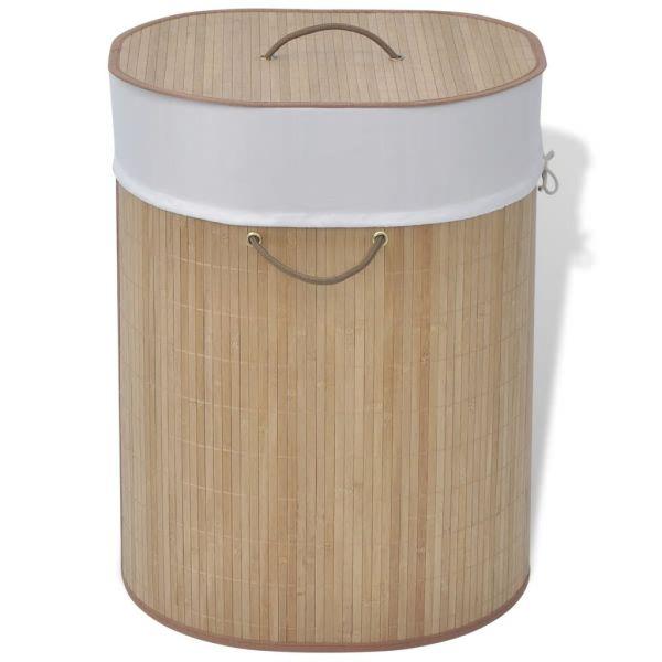 vidaXL Coș de rufe din bambus, natural, oval