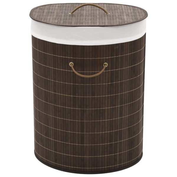 vidaXL Coș de rufe din bambus, oval, maro închis