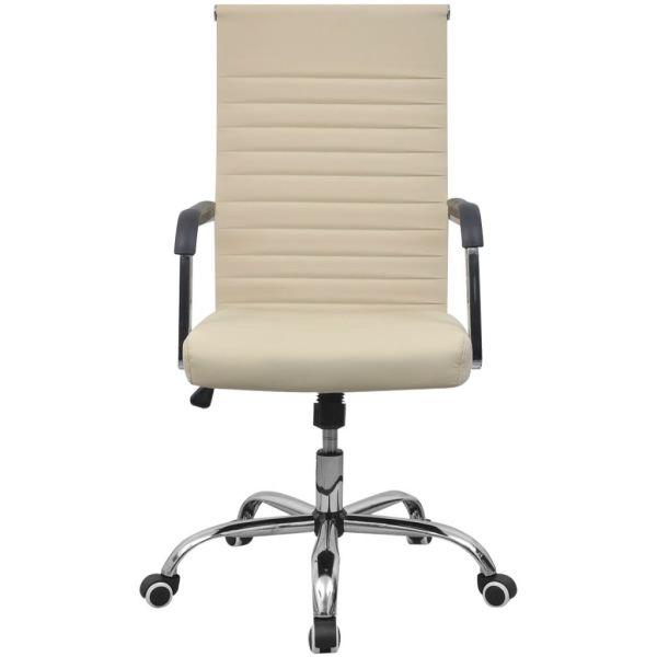 Scaun pentru birou din piele artificială 55×63 cm, Crem