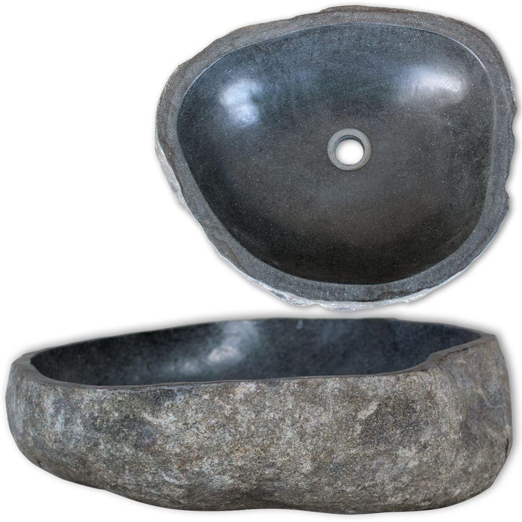 vidaXL Chiuvetă din piatră de râu, 30-37 cm, ovală
