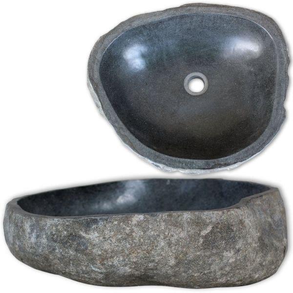 vidaXL Chiuvetă din piatră de râu, 38-45 cm, ovală