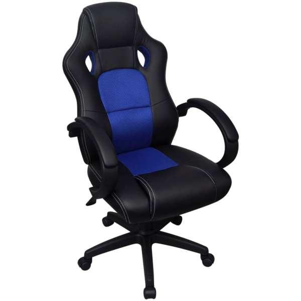 vidaXL Scaun de birou din piele artificială, design racing, albastru