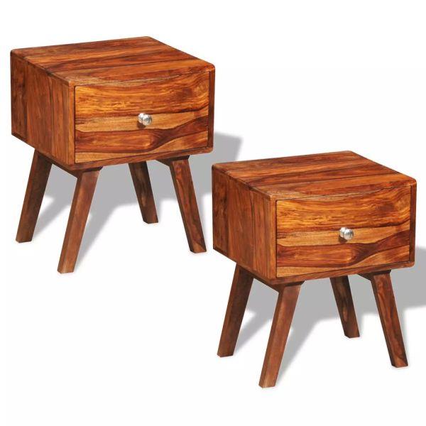 vidaXL Noptieră cu 1 sertar, 2 buc, 55 cm, lemn masiv de sheesham